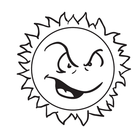 angry sun black and white cartoon illustration isolated on white