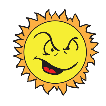 怒っている太陽の漫画のイラストは白で隔離