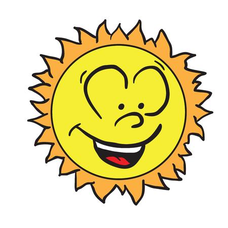 白に隔離された笑顔の太陽漫画のイラスト  イラスト・ベクター素材