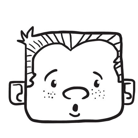 surprised boy cartoon illustration isolated on white