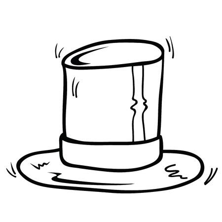 白に隔離されたトップハット漫画のイラスト  イラスト・ベクター素材