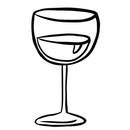 wine glass black and white cartoon illustration isolated on white