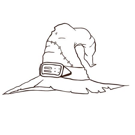 白に隔離された魔女帽子漫画のイラスト  イラスト・ベクター素材