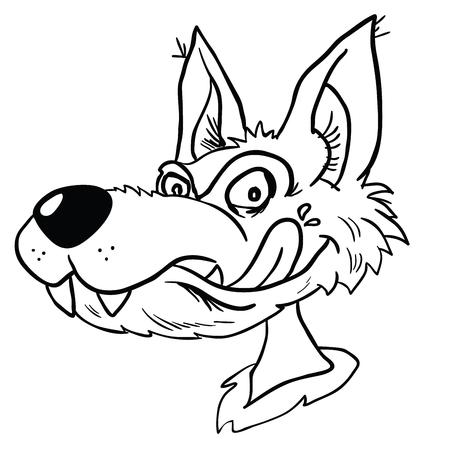 オオカミヘッド漫画イラストは白で隔離
