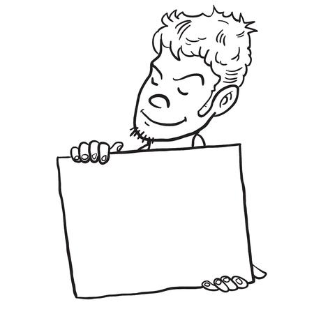 白で隔離されたバナー漫画のイラストを持つ若者