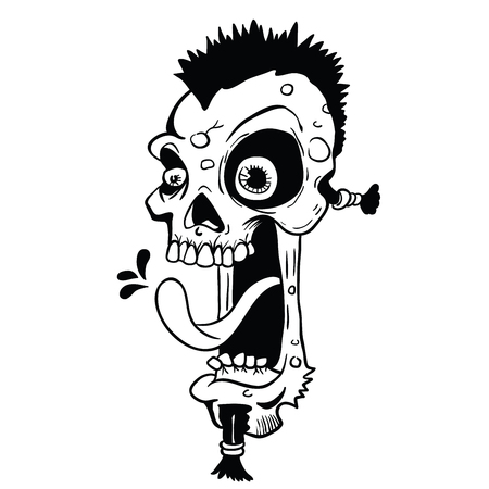 zombie punk skull cartoon illustration isolated on white Ilustração