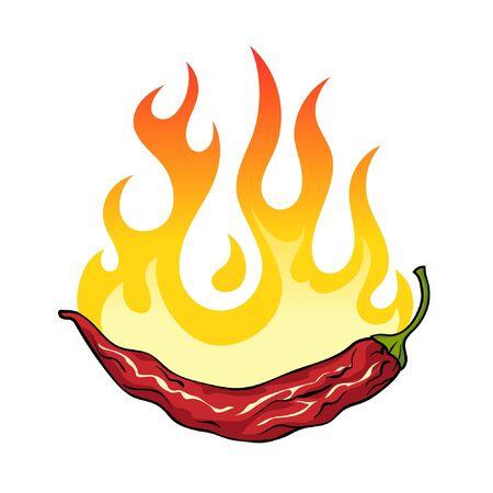 Hot chili pepper on fire, vector illustration