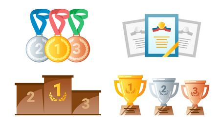 Golden cups for winners and others sport trophy. Golden reward and gold trophy. Vector illustration.