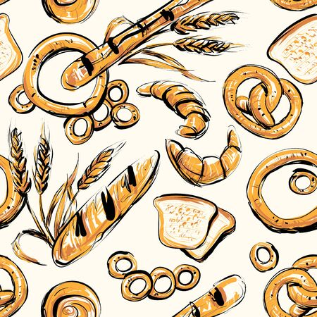 Seamless background on which bread, rolls, pretzels, bagels, wheat spikelets, rye spikelets. Vettoriali