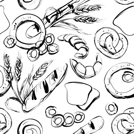 Seamless background on which bread, rolls, pretzels, bagels, wheat Spikelets, rye spikelets.