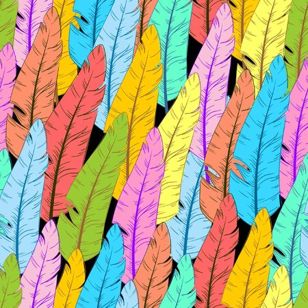 Seamless background with abstract feathers, hand-drawn graphics