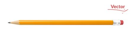 Realistic yellow pencil sharpened with a red rubber. Vector illustration.