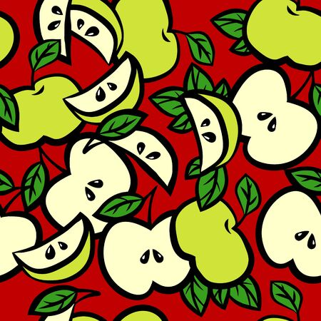 Seamless background with apples with leaves and apple slices