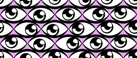 Seamless pattern with eyes on pink background