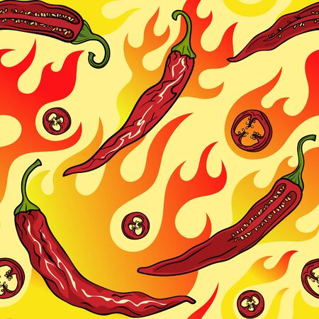 The chili is fiery. Seamless pattern with chili peppers, slices and seeds. Ilustração