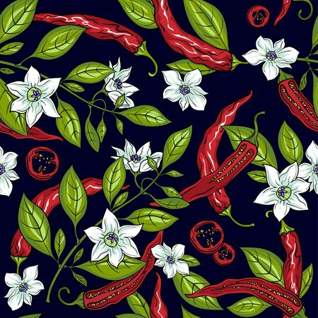 Mexican jalapeno chillies. Seamless pattern. Pepper flowers. The branches of the pepper. Pepper slices. Pepper seeds. Vector illustration. Vettoriali