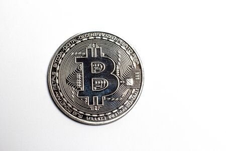 Silver bitcoin on a white background