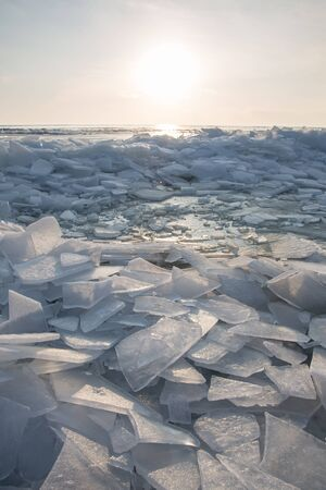 A large number of pieces of ice by the river at sunset