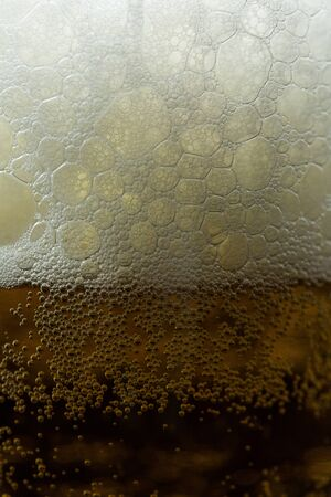 Beer with bubbles and foam in a bottle close