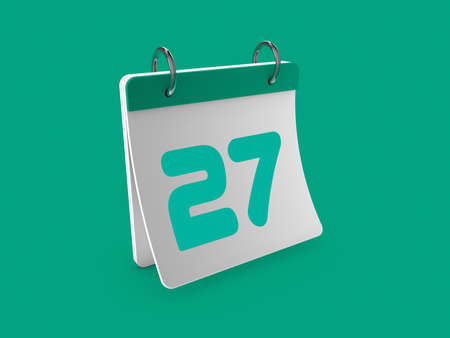 Stylish 3d Calendar day twenty-seventh 27.3d illustration, 3d rendering.