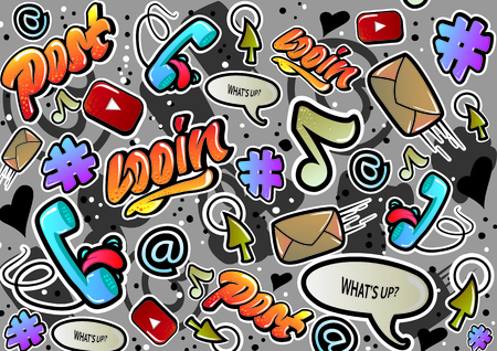Graffiti texture with social media signs and other fun illustrations. Vector.