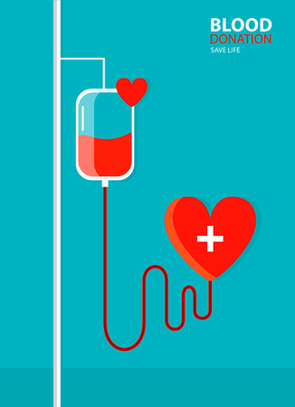 Dropper wth blood. Health care. Blood donation concept for poster. Vector illustration.