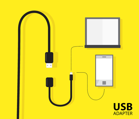 USB adapter cable for notebook or phone on yellow background. Vector illustration design.