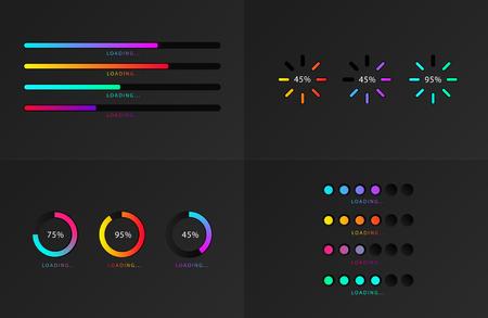 Set of indicators. Progress loading bar. Download progress, web design template, interface upload. Vector illustration. - stock vector Vektoros illusztráció