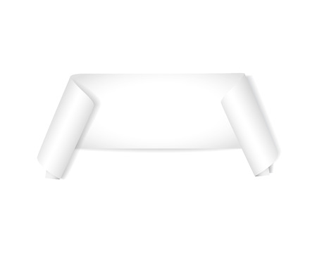 Realistic white ribbon, paper banners mock up. Vector mock up for your design.