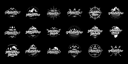 Big Adventure lettering set logos. Vintage logos with mountains, bonfires and arrows. Adventure logo design. Vector logos for your design.