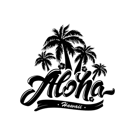 Aloha typography with Palm tree and hibiscus. Vector illustration for t-shirt print .Hawaii. Black and white