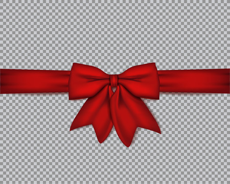 Decorative realistic red bow with horizontal ribbon on isolated background . Vector rose bow. Illustration