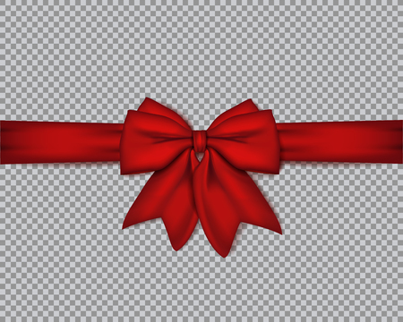Decorative realistic double red bow with horizontal ribbon on isolated background . Vector rose bow for your design