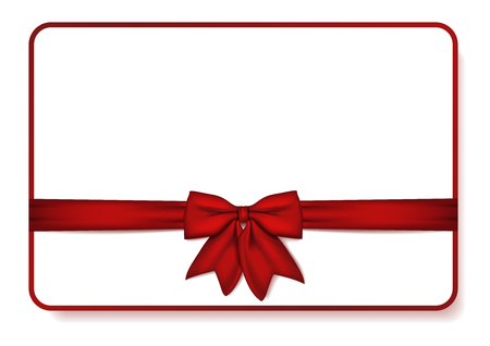 Gift card with red bow and ribbon. Vector Illustration. Mock up gift card. Vector