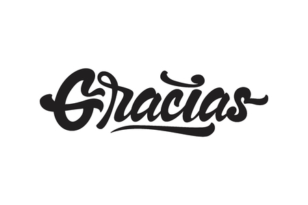 Gracias, hand lettering spanish word thank you, black brush calligraphy isolated on white background. Lettering for your design