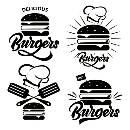Burger logo set met belettering. Embleem, pictogram, label voor restaurant of café ontwerp. Hamburger belettering illustratie. Vector Logo