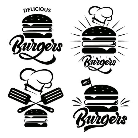 Logo Burger serti de lettrage. Emblème, icône, étiquette pour la conception de restaurant ou de café. Illustration de lettrage Burger. Logo