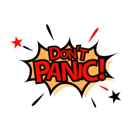 Keine Panik im Comic-Stil. Vektorillustrationsdesign. Vektorgrafik