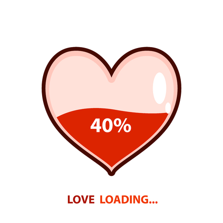 Love loading emblem. Heart loading. Vector illustration design