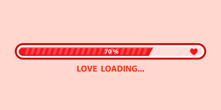 Love loading progress . Heart loading. Vector illustration design Иллюстрация