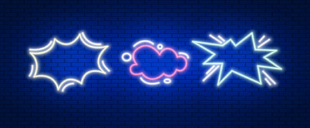 Chat , advertise in neon light effect. Vector illustration design.
