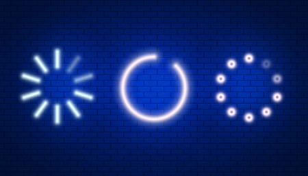 Loading or update in neon light effect. Software. Vector illustration design.