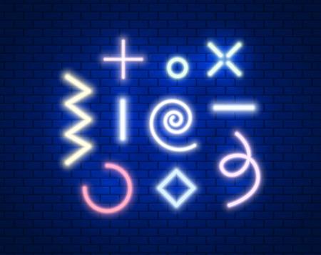 square, rhombus, zig zag, spiral, circle in neon light effect. Software. Vector illustration design.