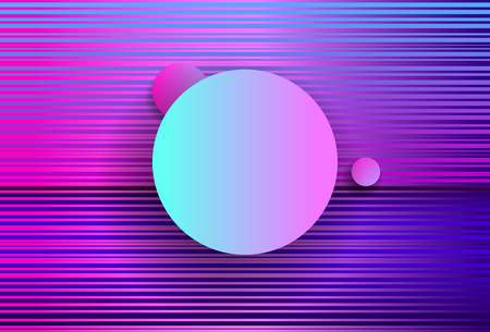 Futuristic Abstract geometry with Pink Circles and waves .Cyberpunk. Synthwave style. Vaporwave. Retrowave. Vector Holographic effect.