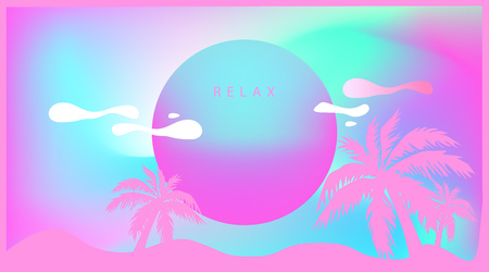 Pink Tropical palm tree in retro style. Futuristic.Relax beach background. Liquid wave. Synthwave style 80s - 90s. Vaporwave. Retrowave. Vector Holographic effect Ilustração