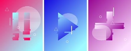 Pause, play, plus button in duotone futuristic style. Liquid elements. Vector illustration design.