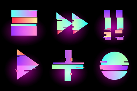 Set of abstract minimal template design for branding, advertising, retro, synthwave holographic in geometric glitch style.Play, pause, record, play buttons. Vector illustration