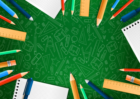 Notebooks with deferent pencils in realistic style on green background with school doodle illustrations. Vector illustration design Ilustração