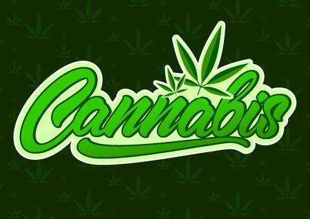 Cannabis in stile lettering con foglia. Disegno di illustrazione vettoriale Vettoriali