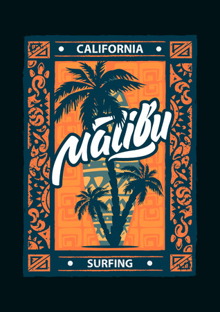 Surf sport Malibu poster with lettering and typography. T-shirt design graphics, vectors.